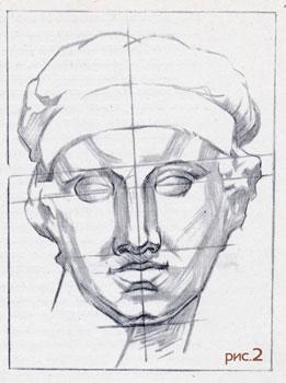 Рисование гипсовой головы. 2 этап.