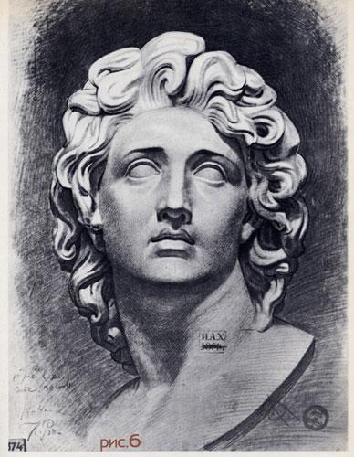 Рисование гипсовой головы. рис 6.