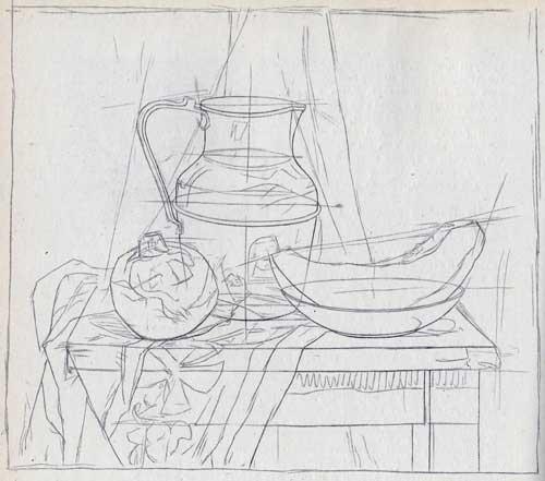 Урок рисования кувшина карандашом. предварительный набросок